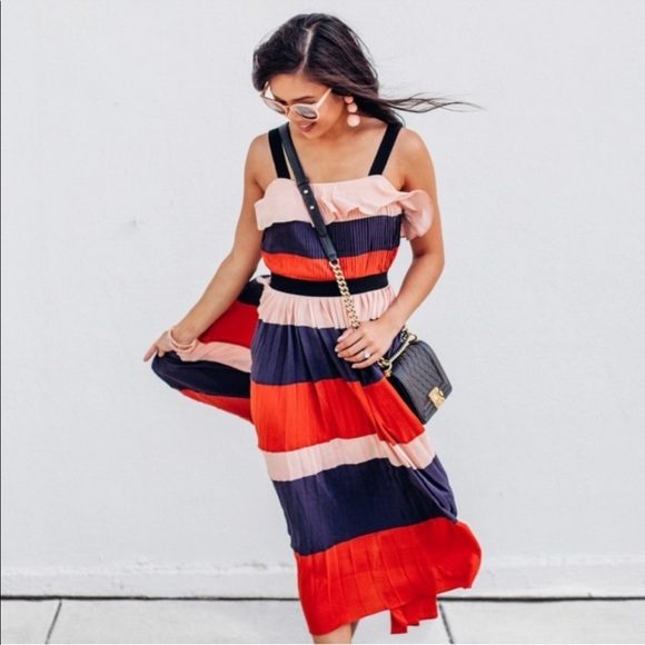 NWT Endless Rose Stripe Pleated Maxi Flutter Dress